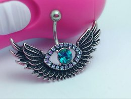 Wholesale Wings Belly Button Rings - New Sexy Steel Crystal Belly Angel Wing Evil Eye Navel Piercing Belly Button Ring Rhinestone Piercing Body Jewelry For Women