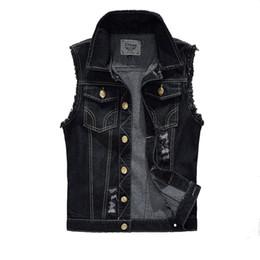 Wholesale Black Slim Fit Waistcoat - Wholesale- Vintage Design Men's Denim Vest Male Black Color Slim Fit Sleeveless Jackets Men Hole Jeans Brand Waistcoat Plus Size 6XL LA034