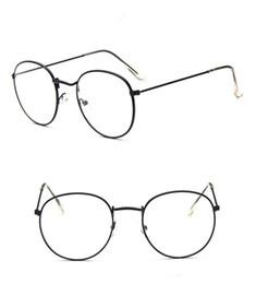 3d9ecaccf98 New Vintage Round Brand Eyeglasses For Men   Women Golden Alloy Frame Eye  Glasses Popular Retro Optical Reading Eyewear LT3447