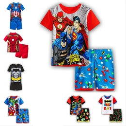 Wholesale Wholesale Character Pyjamas - 2017 new kids clothing catroon boys printed cartoon T shirt +pants 2pieces pajama set sleepwear homewear pyjama