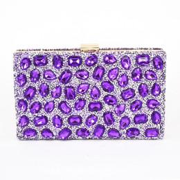 Al por mayor-moda púrpura cristal de cristal bolsa de embrague mujeres diamante bolso de noche brillante bolso Bling banquete de boda embragues bolsa de banquete desde fabricantes