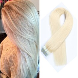Wholesale Double Tape Extensions - Factory Price Double Drawn Tape In Human Hair Extensions Hair Remy Straight Bundles Weave On Adhesives European Hair Blonde 20pcs