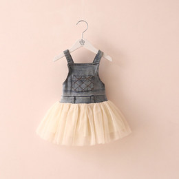 Wholesale Tutu Length Age - Kids Baby Girls Clothes Summers Denim Tulle Dress Lovely New Girls Kids infant Sleeveless Tutu Dress Clothing Overalls Age 2-7Y Outfits