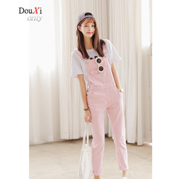 Wholesale Jeans Strap Shorts - Wholesale- Summer Female New Candy Colors Pink Jeans Jumpsuit Strap Shorts Loose Elastic Stretch Slim Pencil Trousers Large Size Casual