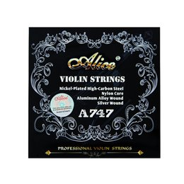 Wholesale Alice Strings - Wholesale- Alice Violin Strings A747 nickel-plated High-carbon steel Nylon cor Aluminum Alloy wound silver wound 4pics set