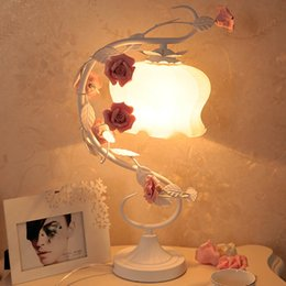 Wholesale Glass Table Lamps Bedroom - Romantic Rose Glass Light Table Lamp Metal Vine Frosted Glass Lampshade Garden Style Bedroom Bedside Desk lamp Wedding Princess