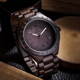 Wholesale Wood Wrist Watches - 2017 Hot Style Watch Sell Men Dress Watch QUartz UWOOD Mens Wooden Watch Wood Wrist Watches men Natural Calendar Display Bangle Gift Relogio