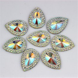 Wholesale Taiwan Beads Wholesale - 13*18mm 100pcs lot AB Crystal Superior Taiwan Acrylic Flat Back Drop Shape Acrylic Rhinestone Sew On 2 Hole beads ZZ36