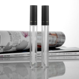 Wholesale Acrylic Clear Tube - New Arrived 10ml Empty Cosmetic Clear Lip Gloss Tubes Containers Bottle With Brush Cylindrical Acrylic Lip Gloss Tube F20171150