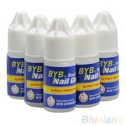 Wholesale Nail Art Adhesive Glue - Wholesale- Pro 5 Pcs BYB 3G Nail Glue Glitters DIY Nail Art Deco Acrylic Tips Adhesive Tool 6ZIG 7GR4 8TIC