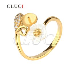 Wholesale Diy Pearl Jewelry Charms - New Arrival 1Piece DIY Gold Plating Pearl Ring Fitting in Flower Design AIM Fashion Jewelry Charm Free Shipment