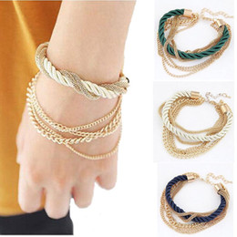 Wholesale Chain For Handmade Bracelet Wholesale - Wholesale- New 2016 Luxury Gold Chain Bracelet For Women Vintage Handmade Jewelry Brand Multilayer Braided Rope Bracelets & Bangles