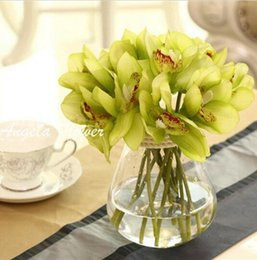 Wholesale White Orchid Heads - Real Touch cymbidium 6 heads Short shoot table decoration flower DIY wedding bride hand flowers home decor artificial orchid HJIA1149