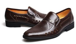 Wholesale Big Heels For Men - 2017 summer Latest Groom dress shoes Men's breathable Hollow out PU leather shoes for men's Hole hole leather sandals Big size 38-45