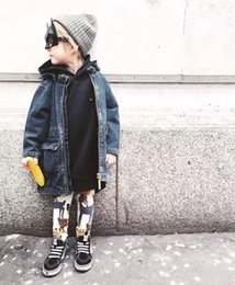Wholesale Trench Coat Unisex Wholesale - 2017 new Fashion Ins Kids Clothing Children Long coat Baby Boys girls denim Outwear kids Autumn Coat Kids Trench Coats hooded coats A1232