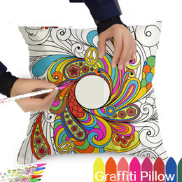Wholesale Hand Painted Pillows - 17 Style Secret Garden Pillows Cover Graffiti DIY Hand Painted Decorative Pillow Case 2017 New Arrival Throw Pillow Covers