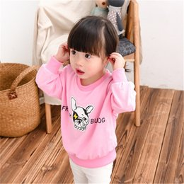 Wholesale Clothes For Dogs Girl Small - Wholesale- 2016 Real Moletom Girl Children's Clothes Girl's Coat Childhood Sleeved Loose Hoodie For Children Small Cute Cartoon Dog L021