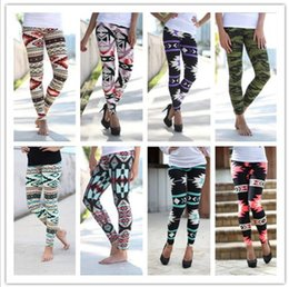 Wholesale Wholesale Trousers Women - Printed Leggings Casual Skinny Legging Stretchy Slim Pencil Pants Women Fashion Trousers Elastic Geometric Leggings Jeggings KKA2136