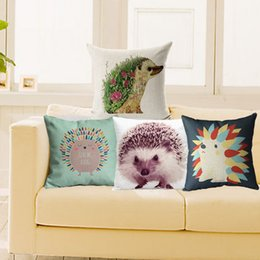 Wholesale 18x18 Pillow Cases - Cushion Cover Variety Hedgehog Pillow Case 18x18 inches Cotton Linen Cushions Back Wedding Throw Decorative Pillows