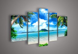 Wholesale Abstract Sky Painting Canvas - Big living room home decor Wall Art Picture printed Azure Sky Ocean White Clouds Coconut tree Painting on Canvas art no frame