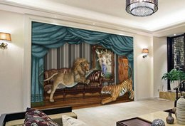 Wholesale Tiger Print Bedroom - 3d wallpaper mural custom luxury gold wallpaper for living room Lion Tiger Background Wall