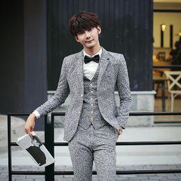 Wholesale Woolen Suits For Men - Wholesale- freeshipping latest coat pant designs2016Korean mens Woolen cloth British groom 3-piece suits velvet thick wedding suits for men