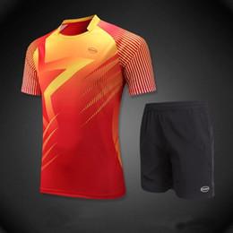 Wholesale Wholesale Outdoors Clothes For Men - Wholesale- 2017 Men's Sportswear Round Neck Outdoor Sports Suit Men Running Set Shirts & Shorts Shorts Training Running Clothes for Men