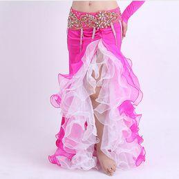 Wholesale Long Chiffon Belly Dance Skirts - Double Colors Women Dancewear Belly Dance Clothes Full Circle Long Waist Maxi Skirt Side Split Bubble Skirt Belly Dance Skirts