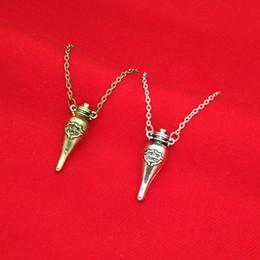 Wholesale Wholesale Pendant Charms Bronze - HP Potter Felix Felicis Bottle Necklace Ancient Silver Bronze Felix Felicis Liquid Luck Magical potion Flask Pendants Women Jewelry 160636