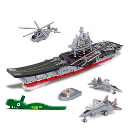 Wholesale Enlighten Aircraft - 1059Pcs Set Military Aircraft Carriers Building Blocks Enlighten Army Early Educational Assemble Toys For Children