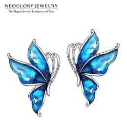 Wholesale Butterfly Earring Clips - Blue Stoving Varnished Boho Big Enamel Butterfly Love Clip Stud Earrings Neoglory For Women 2017 Gift