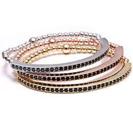 Wholesale Gold Pave Beads - Wholesale-Bend Bar Bracelet Mens Elastic Bracelet 24k Gold Plated Beads Stainless steel Micro Pave Zircon Elastic Men Bracelets CZ Inlay