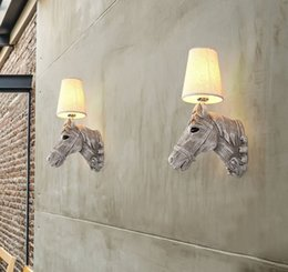 Wholesale horse wall lights - Modern wall lamps Resin horse head Creative wall Sconce Lighting Bedroom Study Room Cafe Light FixtureL LFA