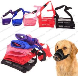 Wholesale Mouth Muzzles - 2017 HOT Pet Dog Adjustable Mask Bark Bite Mesh Mouth Muzzle Grooming Anti Stop Chewing FREE SHIPPING MYY
