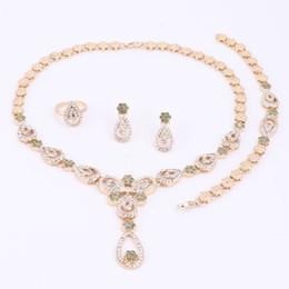 Wholesale Purple Bridal Necklace Set - Fashion Flower Pendant Necklace Earrings Bracelet Gold Plated Jewelry Sets For Women Imitation Crystal Bridal Wedding Bijouterie