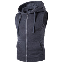 Wholesale Black Sweater Vest Men - The size of S to XXL2017 in the spring of men's new men's Hooded Zip Sweater Vest vest pocket color