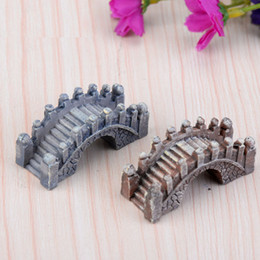 Ponti in miniatura online-All'ingrosso Artificiale Vintage Bridge Mini Craft Miniature Fairy Garden Casa Decorazione Case Micro paesaggistica Decor Accessori fai da te