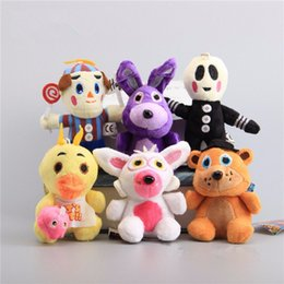 Wholesale Toy Balloons - NEW 6 Pcs set FNAF Five Nights At Freddy Fazbear Bonnie Chica Balloon Boy Small Plush Keychain Stuffed Dolls 10-14 CM