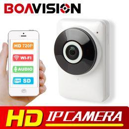 Wholesale Mini Camera Night View - HD 720P Wifi IP Camera Panoramic 180 Degree View Night Vision Mini Wireless Baby Monitor 1.0MP CCTV Smart Camera Security P2P