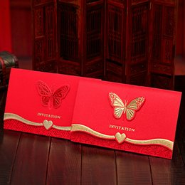 Wholesale Wholesale Diy Wedding Invitation Cards - Upscale Wedding invitation Party Supplies wedding Decoration red Chinese style invitation card Bronzing butterfly home DIY decor wholesale
