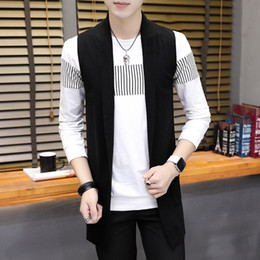 Wholesale Cardigan Sweaters Short Men - Autumn men's sweater long style new fashion casual self-cultivation sleeveless cardigan vest solid color single-piece sales simple and gener