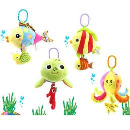Wholesale Baby Turtle Plush Toy - Wholesale- Soft Stuffed Sea Animal Plush Baby Toys Rattles Cartoon Hanging Lovely Musical Toys Octopus Turtles Tortoises Fish-BYC113 PT49