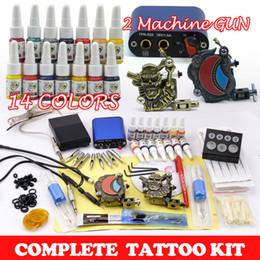Wholesale Tatoo Ink Sets - 2017 new arrival promotion tatoo kit 2pcs tattoos machine guns tattoo kits 14 bottles 5ml ink  pigment 50pcs needles set supply