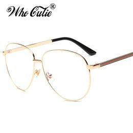 Wholesale Eyewear Aviator - WHO CUTIE Aviator Clear Optical Lens Fake TB Glasses 2017 Men Women Eyewear Retro Gold Metal Frame Plain Eyeglasses Oculos OM368