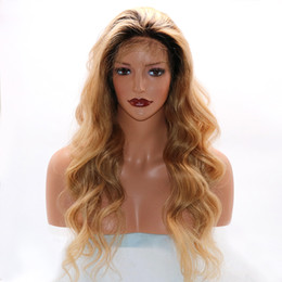Wholesale Fantasy Lights - Fantasy Beauty 360 Lace Frontal Wig Human Hair Straight Wig 100% Brazilian Hair Ombre Black Roots 1B T 27Color 360 Lace front wig