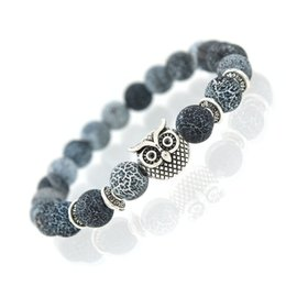 Wholesale Owl Bracelet Charms - Wholesale- 2017 New Owl Natural Stone Beads Bracelet & Bangle for Men Women Stretch Yoga Lava Stone Jewelry Fashion Accessories for Lovers