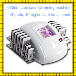 Wholesale Diode Laser Lipolysis - Lipo laser Lipolysis Slimming Machine Fat Loss 5mw 650nm Diode Laser 14 Pads Cellulite Removal Beauty Body Shaping Slimming Machine