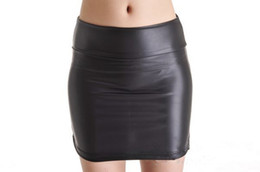 Wholesale Girls Leather Mini Skirts - Wet look mini skirt hips wrap bodycon leather look matt black sexy girls club wear outfit