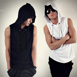 Wholesale Cool Men Sweaters - tshirts for men youth boys Casual Sport Hooded Sleeveless Pullover Sweater Top Tee Cool Style Black White Color