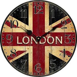 Horloges murales de style vintage en Ligne-En gros-Londres Wall Clock Wood London Drapeau Grande Chambre Décoratif Classique Vintage horloges murales Home Decor Living Room Decoration